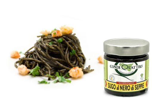 Spaghetti al nero di seppia con sugo pronto artigianale siciliano